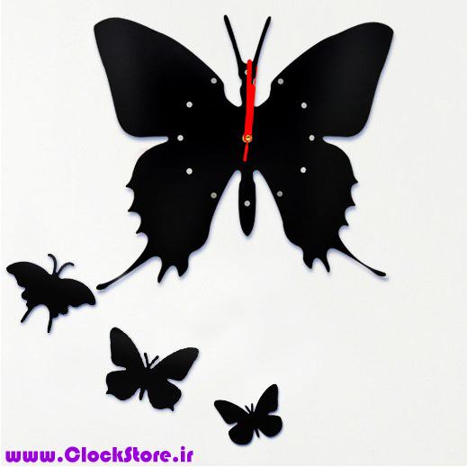 ساعت دیواری مدل پروانه نگینی